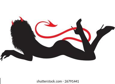 Resting devil woman black silhouette illustration. Simple shapes.