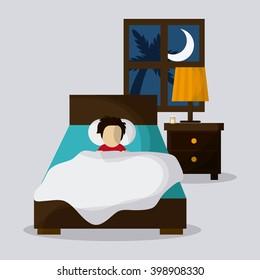 Resting on bed design, vector illustration