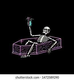 RESTING SKELETON WITH COCKTAIL IN A COFFIN AND COLOR BLACK BACKGROUND