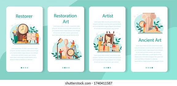 Restorer mobile application banner set. Artist restores an ancient statue, old painting and furniture. Person carefully repair old art object. Vector illustration in cartoon style - Shutterstock ID 1740411587