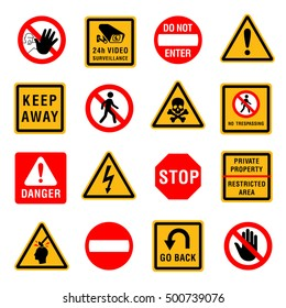 Restriction sign set. Forbidden entry, stop, private property, video surveillance, keep away, danger, no trespassing, go back, restricted area icon collection. Vector illustration. Isolated.