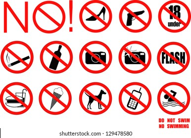 Restriction signs. vector