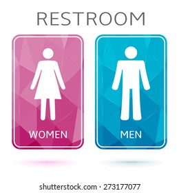Restroom banners, toilet signs. Pink and blue wc signs with triangle texture.