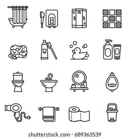 Restroom, Bathroom Icon Set. Line Style stock vector.