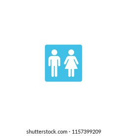 Restroom flat vector icon. Male and female WC