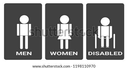 photograph regarding Women's Restroom Sign Printable known as Restroom Icon Clean Style Vector Instance Adult men Inventory