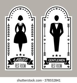 Restroom icon. Premium Restroom Retro Signs Vector Lady & Gentleman Collection. Vintage restroom vector illustration.