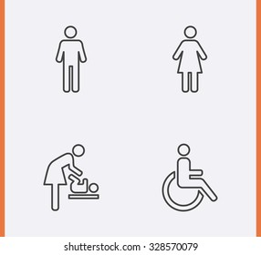 Restroom Icons thin line style: man, woman, wheelchair person symbol and baby changing