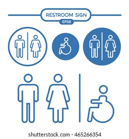 Restroom male female and cripple sign outline stroke vector illustration