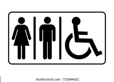 Restroom sign. Toilet sign with lady, man and handicapped symbols, vector illustration.
