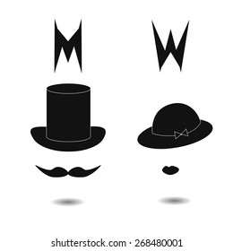 Restroom signs. Extraordinary vector toilet icon of womans hat and mans high hat.