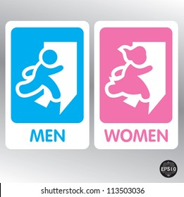 Restroom Signs Illustration, Vector
