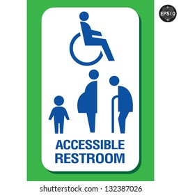 Restroom signs for Pregnant woman,Handicapped and Aged person, Vector