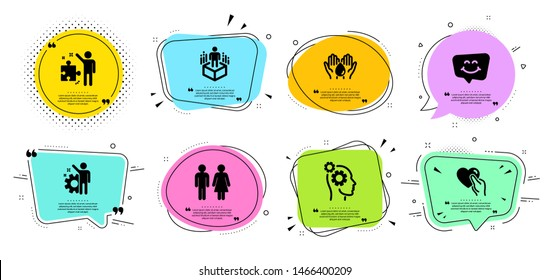 Restroom, Strategy and Employee line icons set. Chat bubbles with quotes. Thoughts, Smile chat and Augmented reality signs. Hold heart, Wash hands symbols. Wc toilet, Business plan. People set. Vector