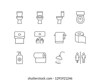 Restroom, toilet, wc icons set with lavatory pan, paper dispenser, hand dryer, towel, paper roll, liquid soap, shower.
