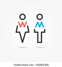 Restroom vector icons. Man and woman toilet icons. Gentleman and lady symbols. Lavatory wc signs. Washroom line elements.