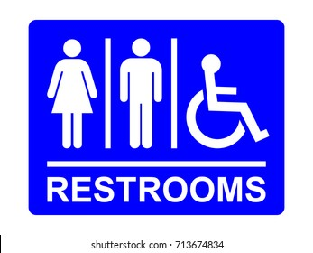 Restrooms sign. Blue toilet sign with lady, man and handicapped symbols and text, vector illustration.