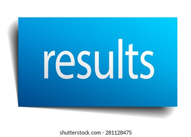 results blue paper sign on white background