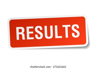 results red square sticker isolated on white