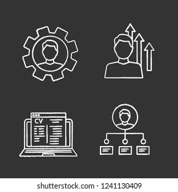 Resume chalk icons set. Professionals skills, personal growth, online job application, abilities. Isolated vector chalkboard illustrations