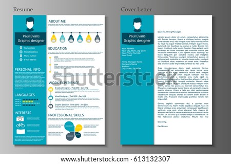 Resume Cover Letter Collection Modern Cv Stock Vector Royalty Free