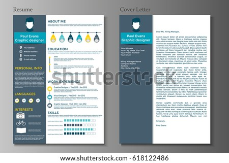 Resume And Cover Letter Collection Modern CV Set With Infographics Elements Awesome For Job