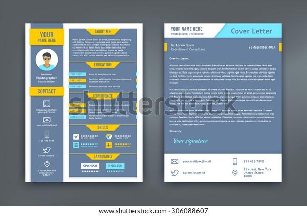 Resume Cover Letter Cv Vector Design Stock Vector (Royalty ...