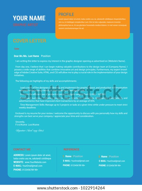 Resume Cover Letter Design Us Letter Stock Vector (Royalty ...