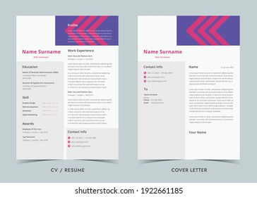 Resume and Cover Letter, Minimalist resume cv template, Cv professional jobs resumes