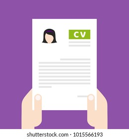 Resume, CV. Find person for job opportunity, vector illustration design. Concept search better candidate for open position. We are hiring, hr. Job offer. Wanted employee. Ultra violet background.