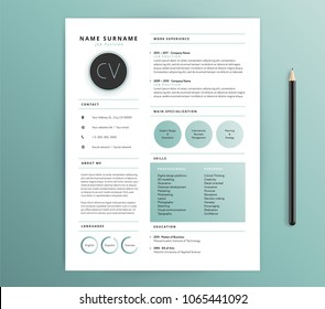 Resume / CV template design - nature feel green color - vector sample