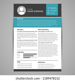 Resume and cv template. Flat style vector illustration.