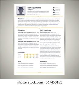 unique professional resume cv design stock vector royalty free