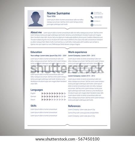 resume cv template flat style vector のベクター画像素材