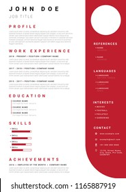 Resume / CV template with minimalist red colour design. Font used is Roboto.
