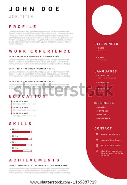 resume cv template minimalist red colour stock vector