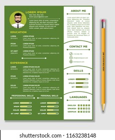Resume, CV Template with nice minimalist design and Realistic Pencil. Vector illustration
