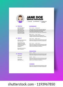 Resume CV Template For Women In Minimalist Design
