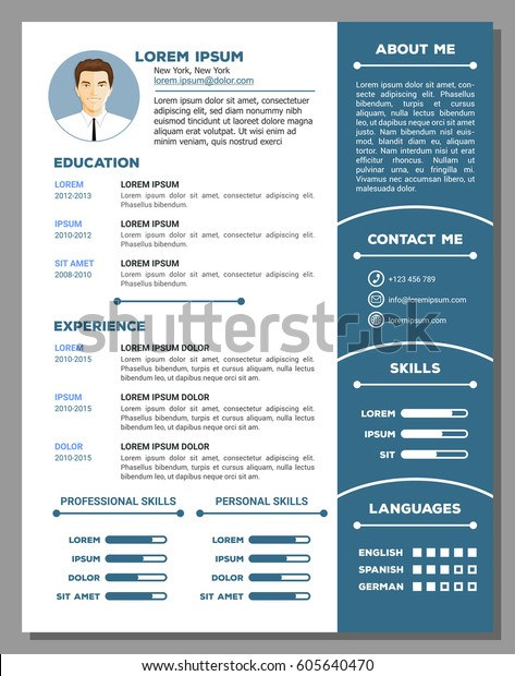 Resume and cv vector template with nice creative design