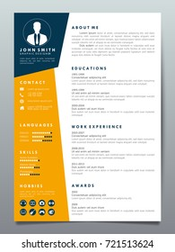 Resume design template minimalist cv. Business layout vector clean for job applications. In A4 size.