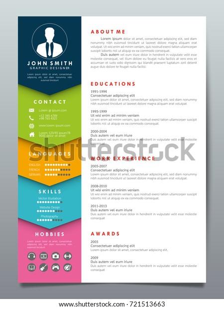 resume design template minimalist cv business stock vector