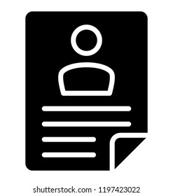 A resume document having person's biodata
