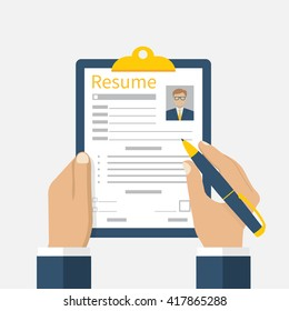 Resume form in hands. Clipboard with leaf in hand. Man fills in questionnaire. Writing business resume. Concept of employment. Vector illustration flat design. CV application. Job search.