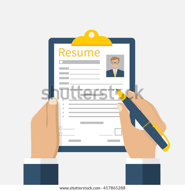 Resume Form Hands Clipboard Leaf Hand Stock Vector Royalty Free
