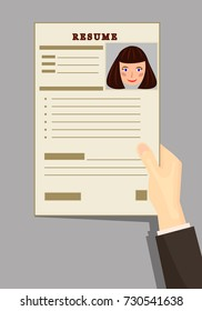 resume, the resume of the girl, Curriculum vitae. Resumes in hand. vector illustration.Analysis of the employee's resume. Staff search