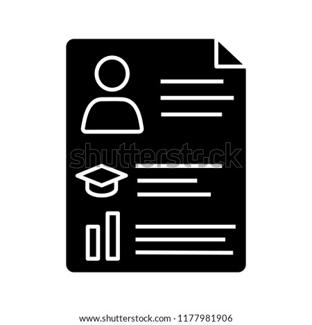 Resume Glyph Icon Silhouette Symbol Cv Stock Vector Royalty Free