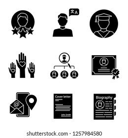 Resume glyph icons set. Experience, language skills, education, volunteering, vacancy, certificate, contact information, cover letter, biography. Silhouette symbols. Vector isolated illustration