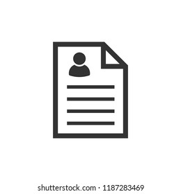 Resume icon in flat style. Contract document vector illustration on white isolated background. Resume business concept.