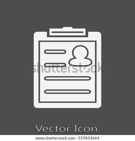 resume icon isolated sign symbol flat stock vector (royalty free