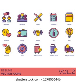 Resume icons including negotiation, leadership, design, organizing, portfolio, personality, training, strength, info, idea, volunteer, goals, willing to travel, unable, relocate.